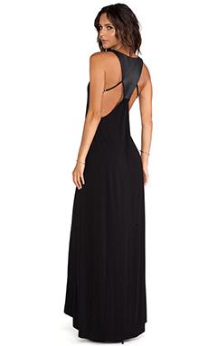 David Lerner Leather Panel Back Maxi Dress in Black & Black
