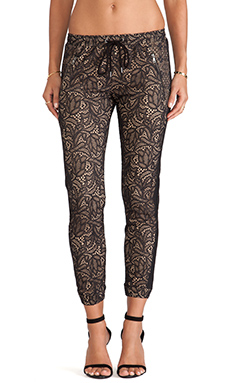 David Lerner Lace Track Pant in Classic Black