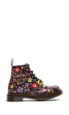 Dr. Martens 101 6-Eye Boot in Black Vintage Garden