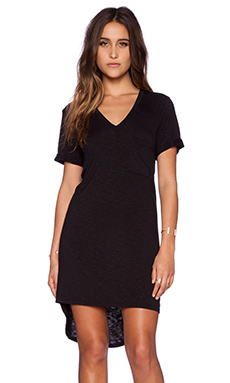 dolan Rolled Sleeve V-Neck T-Shirt Dress in Black
