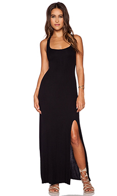 dolan Tank Maxi Dress With Front Slit in Black