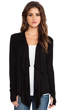 dolan Long Sleeve Drape Neck Cardigan in Black