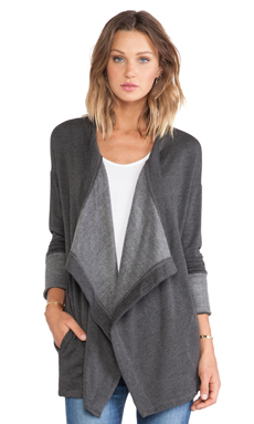 dolan Drape Front Cardigan in Cool Grey