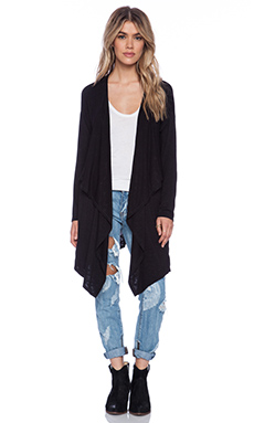 dolan Oversized Drape Front Cardigan in Black