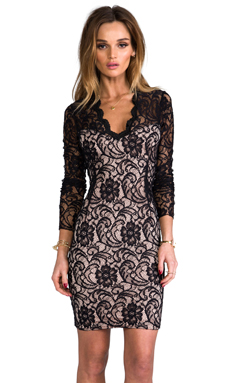 Dolce Vita Annabel Stretch Floral Lace Dress in Noir