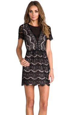 DV by Dolce Vita Saurus Eyelash Lace Dress in Black