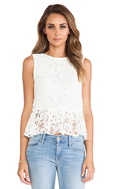 Dolce Vita Anja Scroll Lace Blouse in White