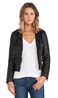 DOMA Quilted Sleeve Moto in Black