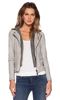 DOMA Hooded Moto Jacket in Glacier Grey