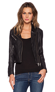 DOMA Fitted Moto Jacket in Black
