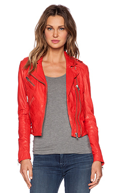 DOMA Fitted Moto Jacket in Mandarine Red
