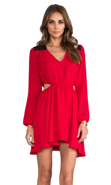 Donna Mizani Cut Out Flounce Dress in Scarlet