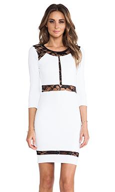 Donna Mizani Paneled Lace Dress in Bright White