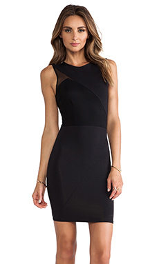 Donna Mizani Mesh Splice Dress in Caviar
