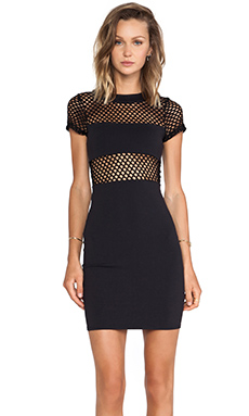 Donna Mizani Banded Fitted Mini Dress in Caviar