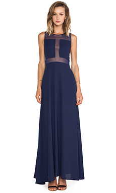 Donna Mizani Paneled Gown in Navy