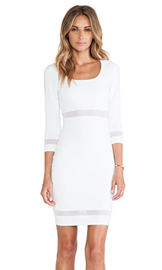 Donna Mizani Scoop Neck Mini Dress in White