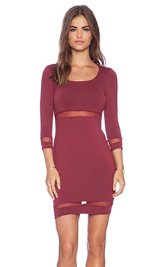 Donna Mizani Scoop Neck Mini Dress in Burgundy