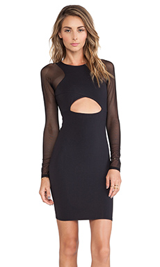 Donna Mizani Cut Out Raglan Sleeve Dress in Black