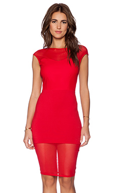 Donna Mizani Boat Neck Midi Dress in Red