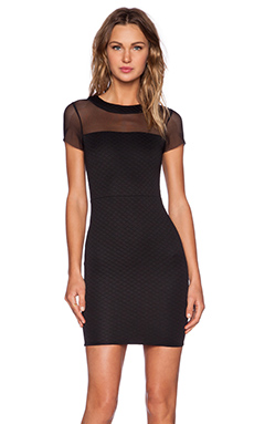 Donna Mizani Quilted Mini Dress in Black