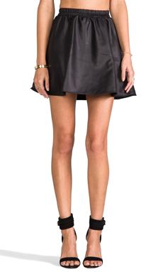 Donna Mizani Leatherette Circle Skirt in Black