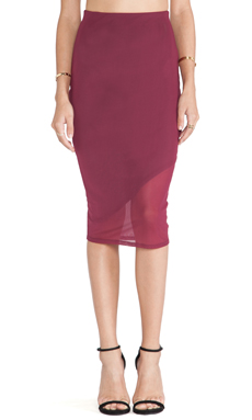 Donna Mizani Asymmetrical Midi Skirt in Burgundy