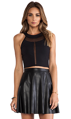 Donna Mizani Paneled Crop Top in Caviar