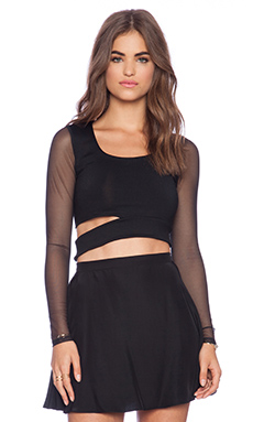 Donna Mizani Long Sleeve Cut Out Top in Caviar