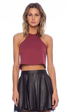 Donna Mizani Racer Crop Top in Burgundy