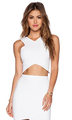 Donna Mizani V Strap Crop Top in White