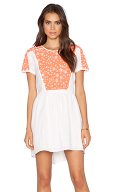 Dress Gallery Selena Dress in Coral Fluo & Ecru
