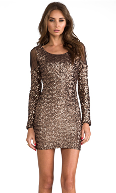DRESS THE POPULATION Jaden Cut Out Dress in Copper