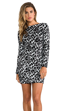 DRESS THE POPULATION Lola Long Sleeve Sequin Dress in White