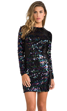 DRESS THE POPULATION Ryan Long Sleeve Sequin Dress in Black Iridescent