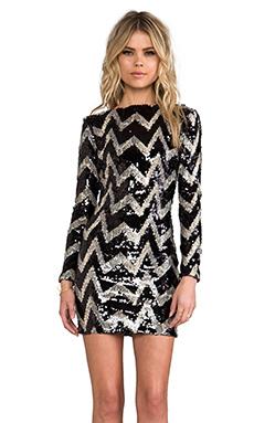 DRESS THE POPULATION Lola Long Sleeve Mini Dress in Black & Tan