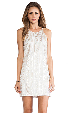 DRESS THE DRESS THE POPULATION Jamie Sequin Tank Dress in White & Gold