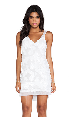 DRESS THE POPULATION Charlotte Mini Dress in White