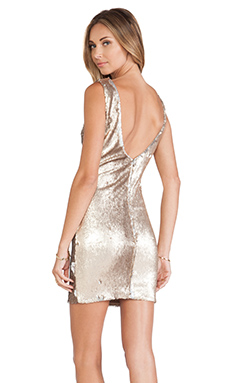 DRESS THE POPULATION Kim Dress in Gold & Silver Scales
