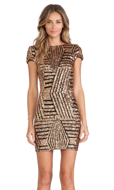 DRESS THE POPULATION Tabitha Dress in Bronze