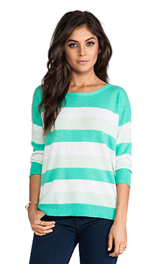 DUFFY Striped Cashmere Pullover Sweater in Dark Green & T.Niveous & Water Ice