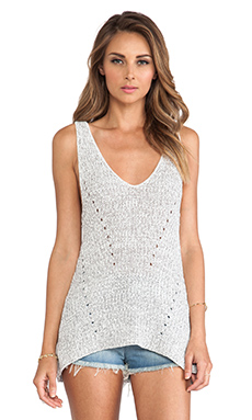 DUFFY Knit Tank in White & Summer Grey