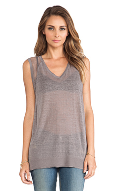 DUFFY Linen Pullover Top in Dark Grey