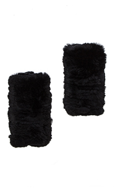 Diane von Furstenberg Rabbit Fur Gloves in Black