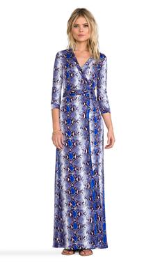 Diane von Furstenberg Abigail Dress in Python Medium Blue