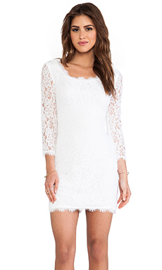 Diane von Furstenberg Zarita Scoop Dress in White