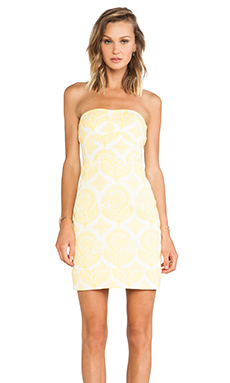Diane von Furstenberg Garland Two Floral Stamp Dress in Canary Yellow & White