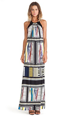 Diane von Furstenberg Jordan Maxi Dress in Glass Scarf & Black