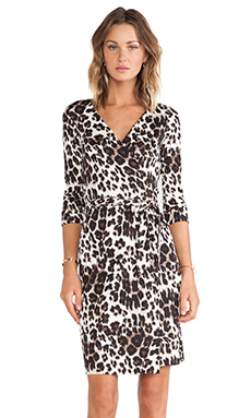 Diane von Furstenberg New Julian Two Wrap Dress in Snow Cheetah Large