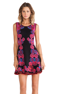 Diane von Furstenberg Jacquard Fit and Flare Dress in Rose Gate Cerise